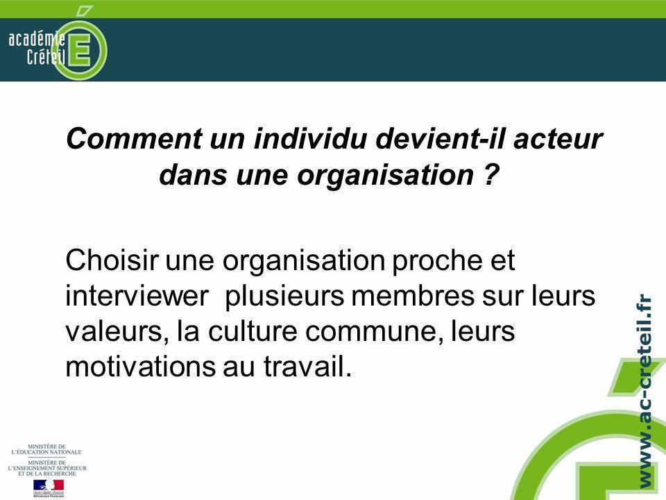 Comment un individu devient-il acteur dans une organisation ? Choisir une organisation proche et interviewer plusieurs membres sur leurs valeurs, la c
