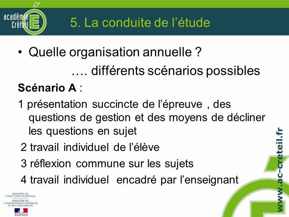 5. La conduite de l'étude Quelle organisation annuelle ? …. différents scénarios possibles Scénario A : 1 présentation succincte de l'épreuve, des que