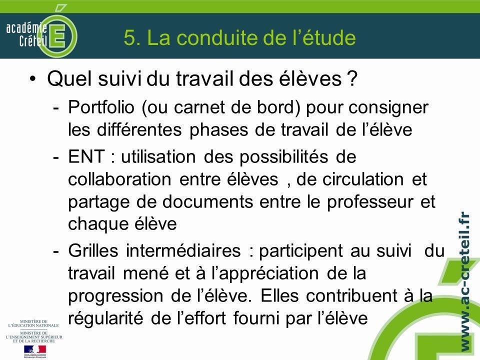 5. La conduite de l'étude Quel suivi du travail des élèves ? -Portfolio (ou carnet de bord) pour consigner les différentes phases de travail de l'élèv