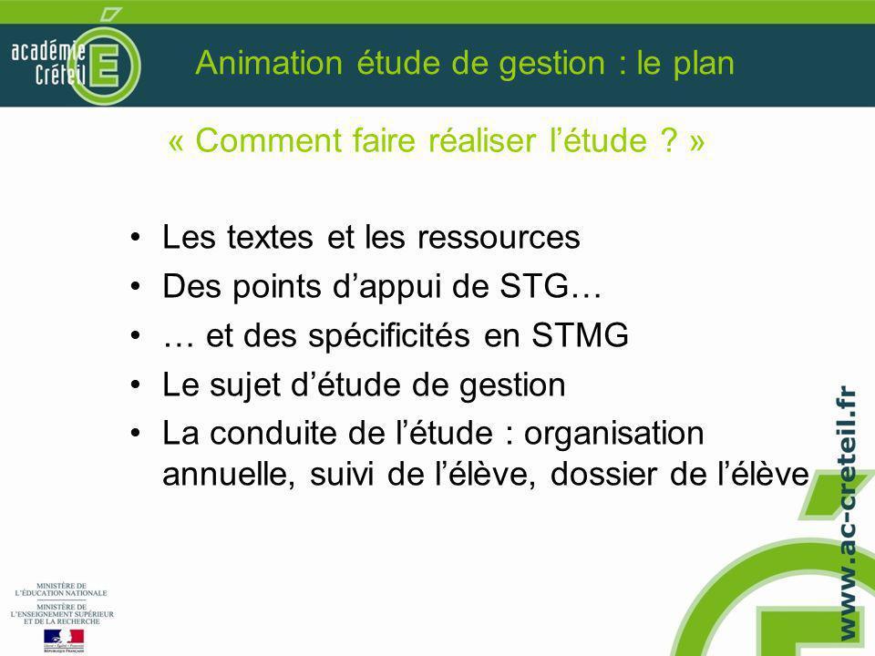 Animation étude de gestion : le plan Les textes et les ressources Des points d'appui de STG… … et des spécificités en STMG Le sujet d'étude de gestion