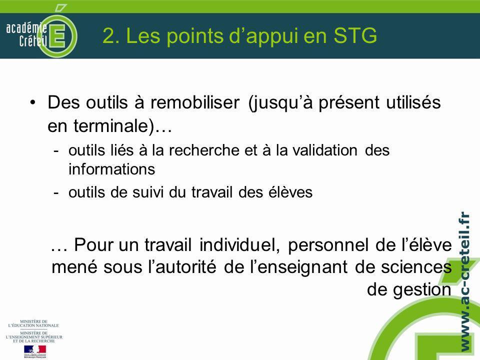 2. Les points d'appui en STG Des outils à remobiliser (jusqu'à présent utilisés en terminale)… -outils liés à la recherche et à la validation des info