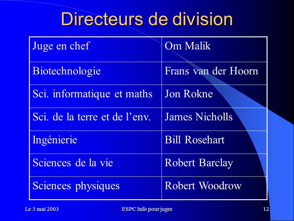 Le 3 mai 2003ESPC Info pour juges12 Directeurs de division Juge en chefOm Malik BiotechnologieFrans van der Hoorn Sci.