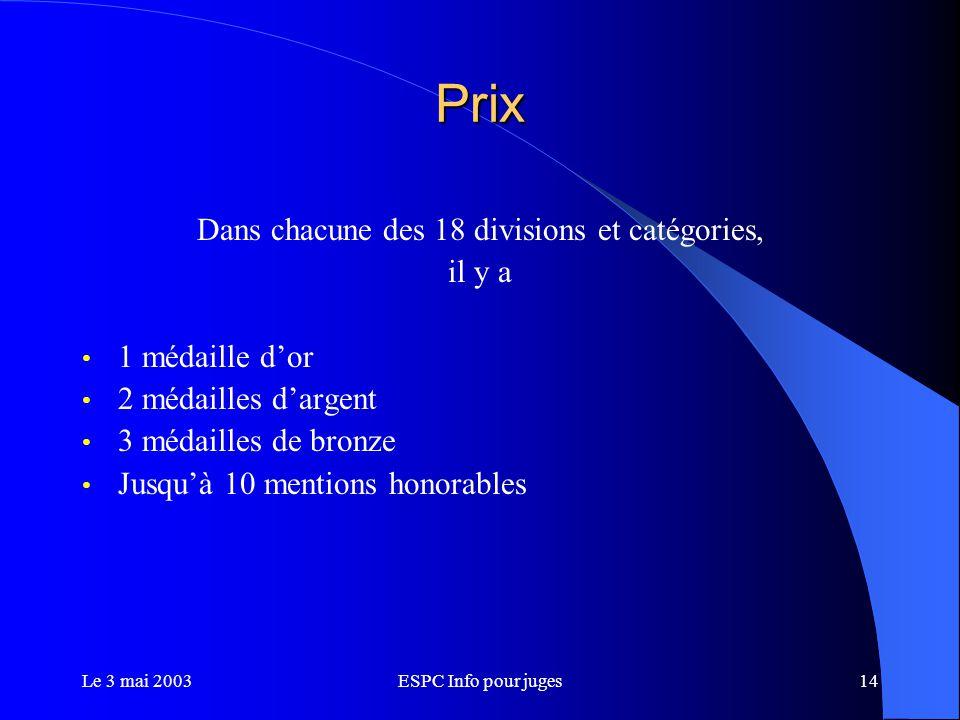 Le 3 mai 2003ESPC Info pour juges14 Prix Dans chacune des 18 divisions et catégories, il y a 1 médaille d'or 2 médailles d'argent 3 médailles de bronze Jusqu'à 10 mentions honorables