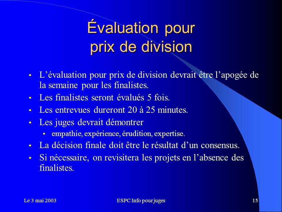 Le 3 mai 2003ESPC Info pour juges15 Évaluation pour prix de division L'évaluation pour prix de division devrait être l'apogée de la semaine pour les finalistes.