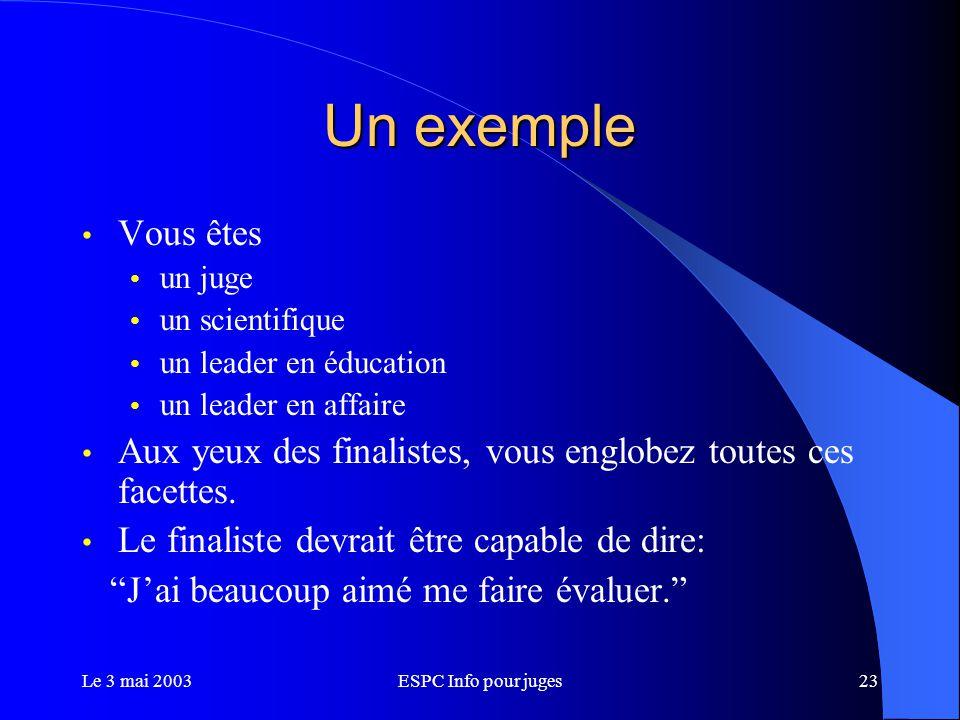 Le 3 mai 2003ESPC Info pour juges23 Un exemple Vous êtes un juge un scientifique un leader en éducation un leader en affaire Aux yeux des finalistes, vous englobez toutes ces facettes.