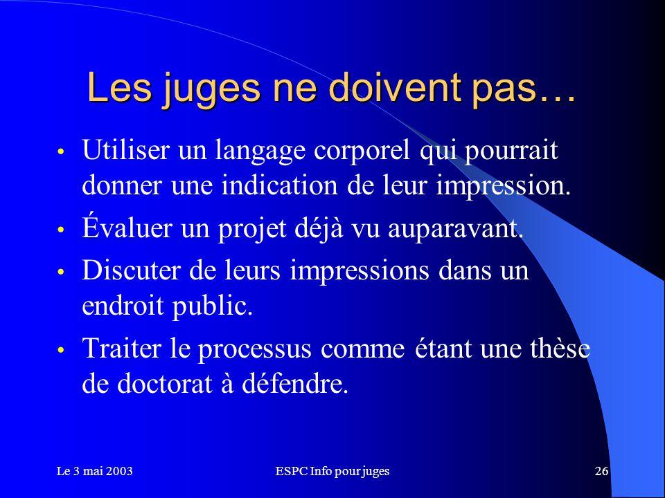 Le 3 mai 2003ESPC Info pour juges26 Les juges ne doivent pas… Utiliser un langage corporel qui pourrait donner une indication de leur impression.