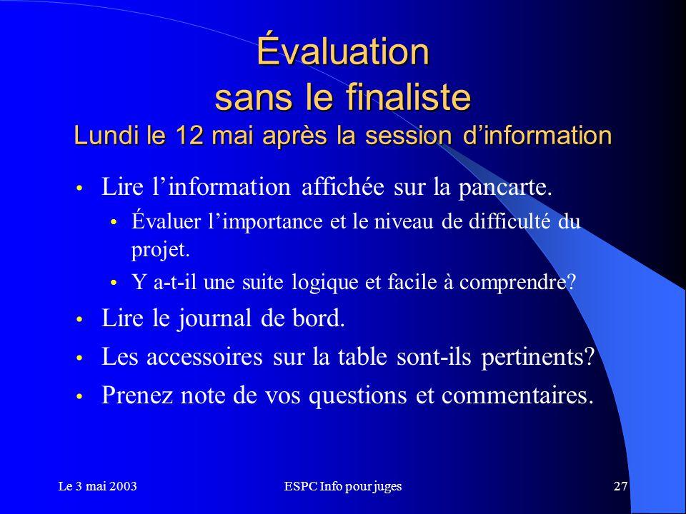 Le 3 mai 2003ESPC Info pour juges27 Évaluation sans le finaliste Lundi le 12 mai après la session d'information Lire l'information affichée sur la pancarte.