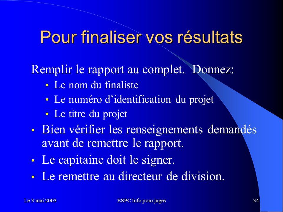 Le 3 mai 2003ESPC Info pour juges34 Pour finaliser vos résultats Remplir le rapport au complet.