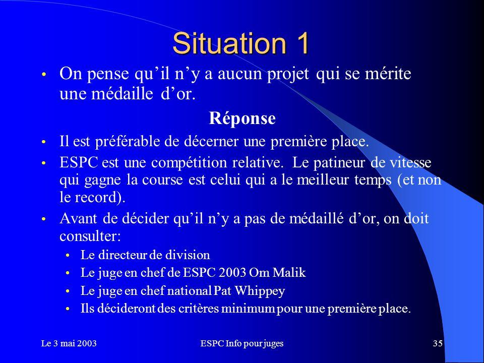 Le 3 mai 2003ESPC Info pour juges35 Situation 1 On pense qu'il n'y a aucun projet qui se mérite une médaille d'or.