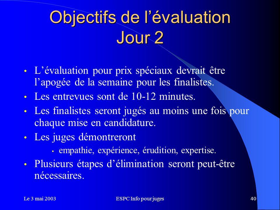 Le 3 mai 2003ESPC Info pour juges40 Objectifs de l'évaluation Jour 2 L'évaluation pour prix spéciaux devrait être l'apogée de la semaine pour les finalistes.