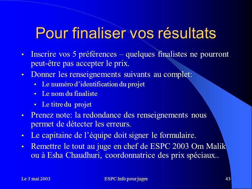 Le 3 mai 2003ESPC Info pour juges43 Pour finaliser vos résultats Inscrire vos 5 préférences – quelques finalistes ne pourront peut-être pas accepter le prix.