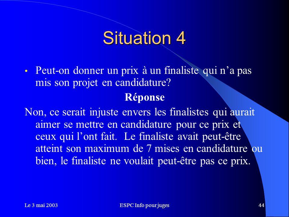 Le 3 mai 2003ESPC Info pour juges44 Situation 4 Peut-on donner un prix à un finaliste qui n'a pas mis son projet en candidature.