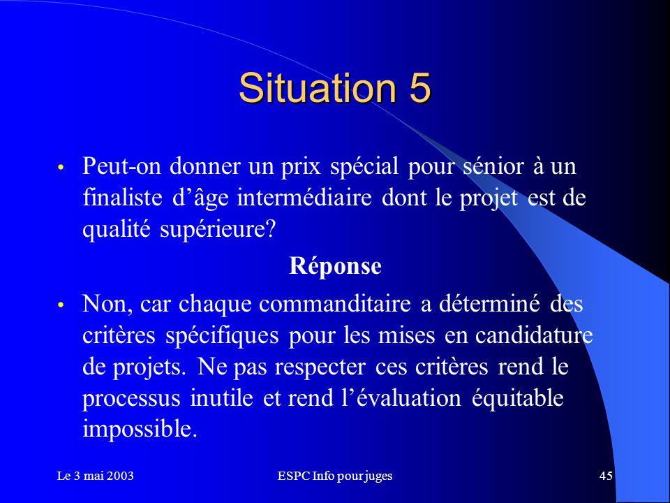 Le 3 mai 2003ESPC Info pour juges45 Situation 5 Peut-on donner un prix spécial pour sénior à un finaliste d'âge intermédiaire dont le projet est de qualité supérieure.