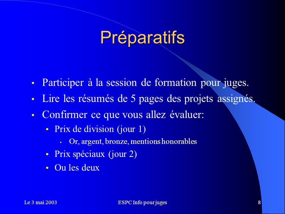 Le 3 mai 2003ESPC Info pour juges19 Horaire (cont.) 17H00 – 18H00Souper pour les co-capitaines.
