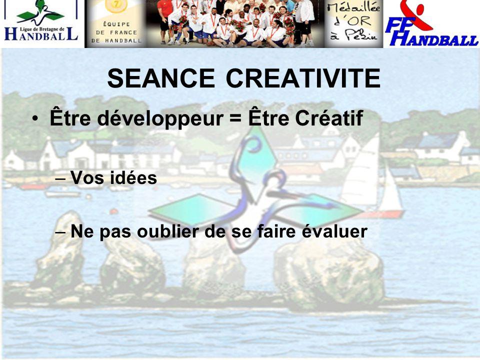 SEANCE CREATIVITE Être développeur = Être Créatif –Vos idées –Ne pas oublier de se faire évaluer