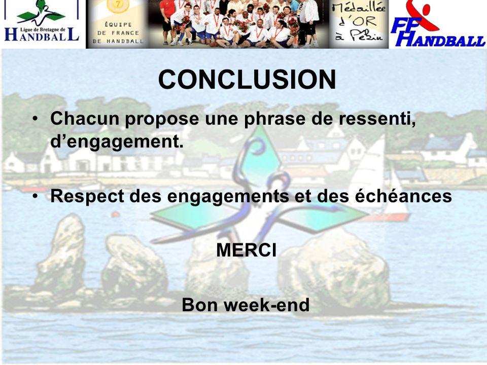CONCLUSION Chacun propose une phrase de ressenti, d'engagement. Respect des engagements et des échéances MERCI Bon week-end