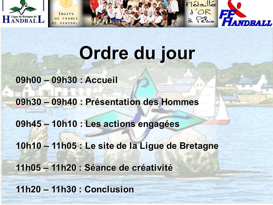 Ordre du jour 09h00 – 09h30 : Accueil 09h30 – 09h40 : Présentation des Hommes 09h45 – 10h10 : Les actions engagées 10h10 – 11h05 : Le site de la Ligue