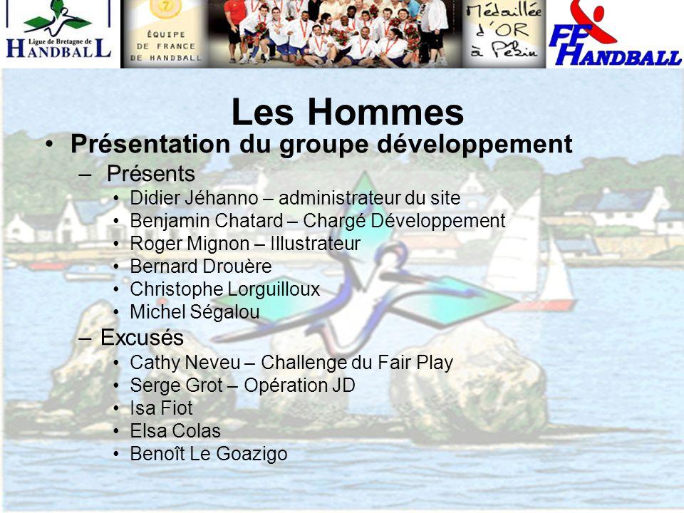 Les Hommes Présentation du groupe développement – Présents Didier Jéhanno – administrateur du site Benjamin Chatard – Chargé Développement Roger Migno