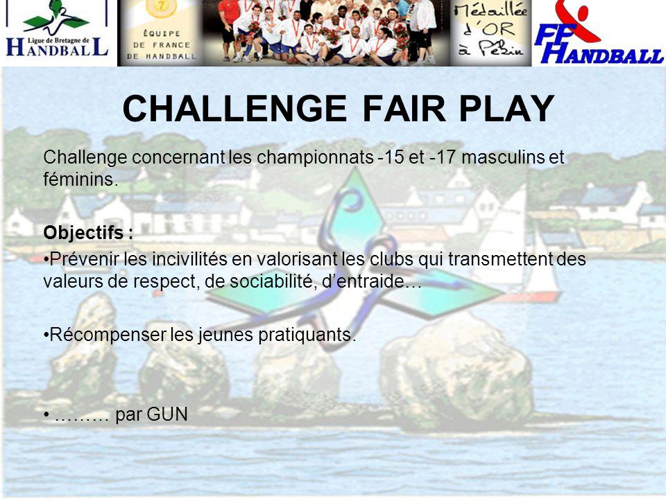 CHALLENGE FAIR PLAY Challenge concernant les championnats -15 et -17 masculins et féminins. Objectifs : Prévenir les incivilités en valorisant les clu