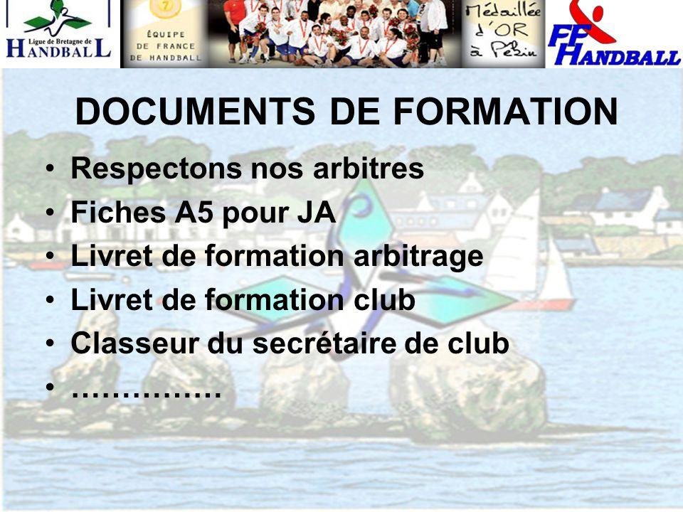 DOCUMENTS DE FORMATION Respectons nos arbitres Fiches A5 pour JA Livret de formation arbitrage Livret de formation club Classeur du secrétaire de club ……………