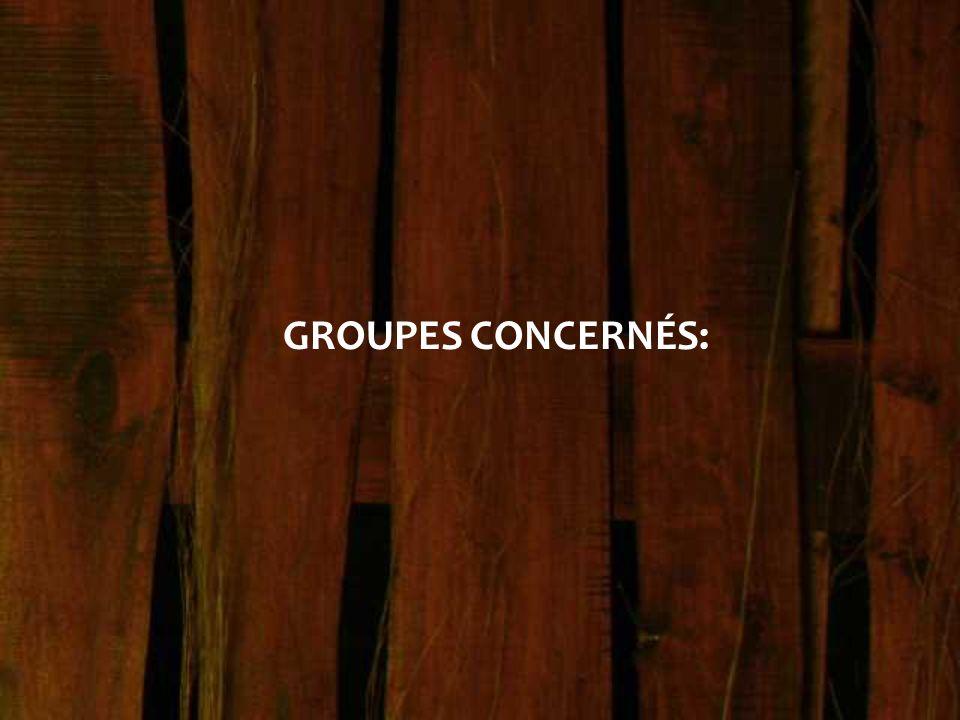 GROUPES CONCERNÉS: