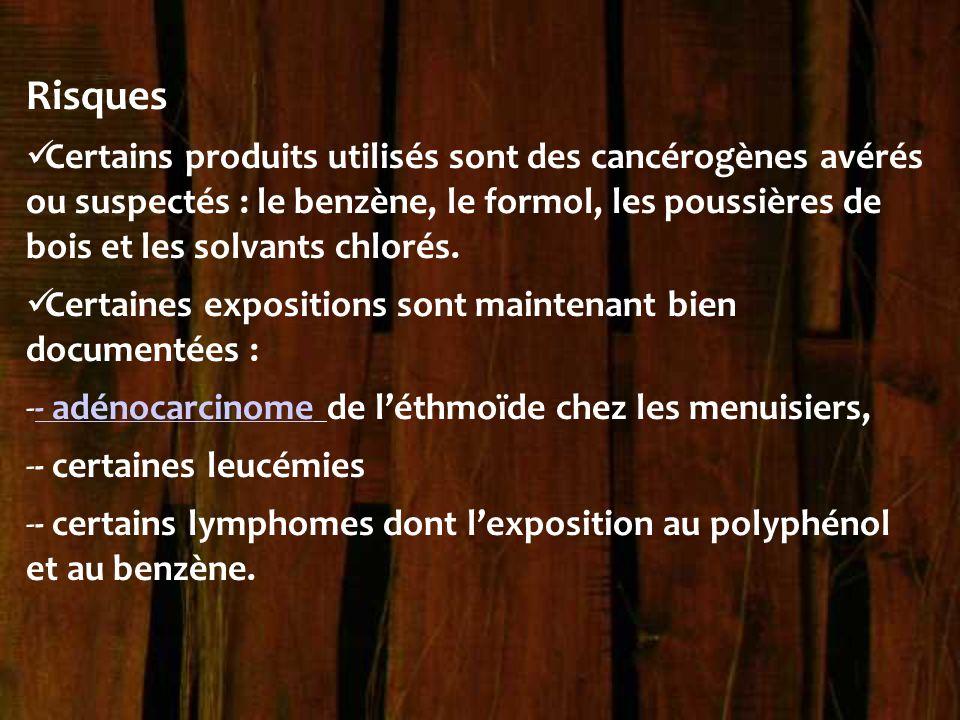 Risques Certains produits utilisés sont des cancérogènes avérés ou suspectés : le benzène, le formol, les poussières de bois et les solvants chlorés.