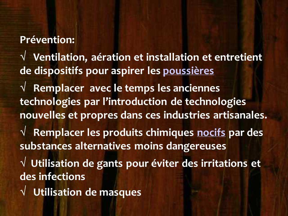 Prévention:  Ventilation, aération et installation et entretient de dispositifs pour aspirer les poussièrespoussières  Remplacer avec le temps les a