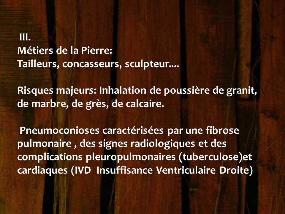 III. Métiers de la Pierre: Tailleurs, concasseurs, sculpteur.... Risques majeurs: Inhalation de poussière de granit, de marbre, de grès, de calcaire.