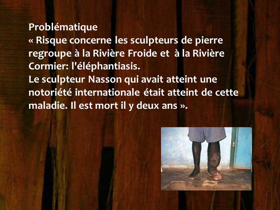 Problématique « Risque concerne les sculpteurs de pierre regroupe à la Rivière Froide et à la Rivière Cormier: l'éléphantiasis. Le sculpteur Nasson qu
