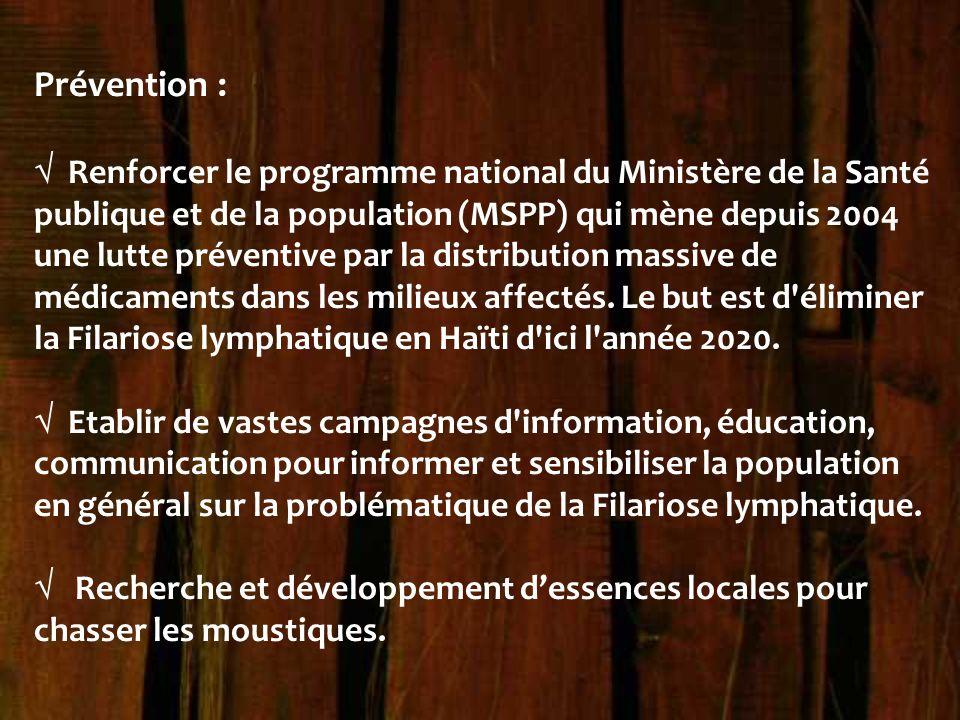 Prévention :  Renforcer le programme national du Ministère de la Santé publique et de la population (MSPP) qui mène depuis 2004 une lutte préventive