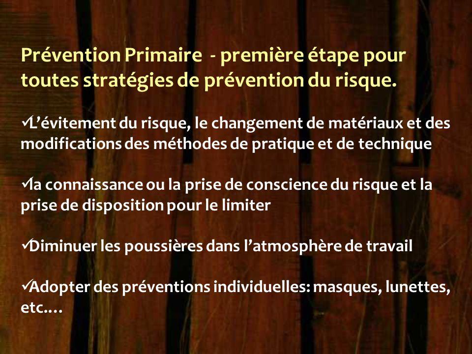 Prévention Primaire - première étape pour toutes stratégies de prévention du risque. L'évitement du risque, le changement de matériaux et des modifica