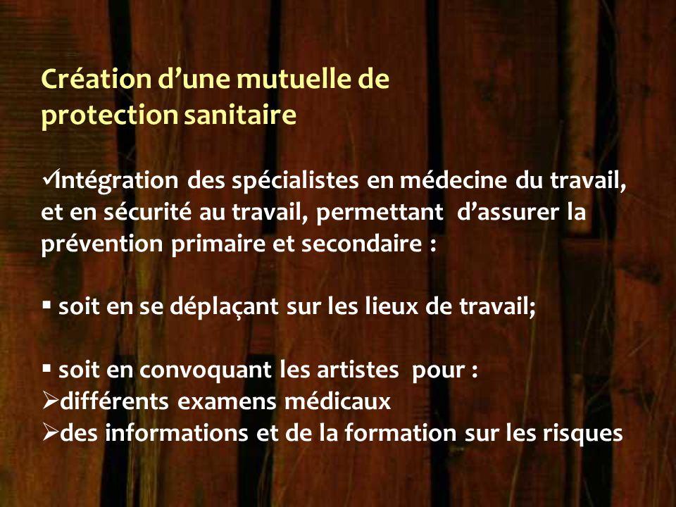 Création d'une mutuelle de protection sanitaire Intégration des spécialistes en médecine du travail, et en sécurité au travail, permettant d'assurer l
