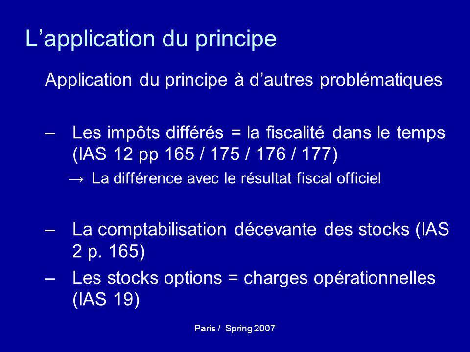 Paris / Spring 2007 L'application du principe Application du principe à d'autres problématiques –Les impôts différés = la fiscalité dans le temps (IAS 12 pp 165 / 175 / 176 / 177) →La différence avec le résultat fiscal officiel –La comptabilisation décevante des stocks (IAS 2 p.