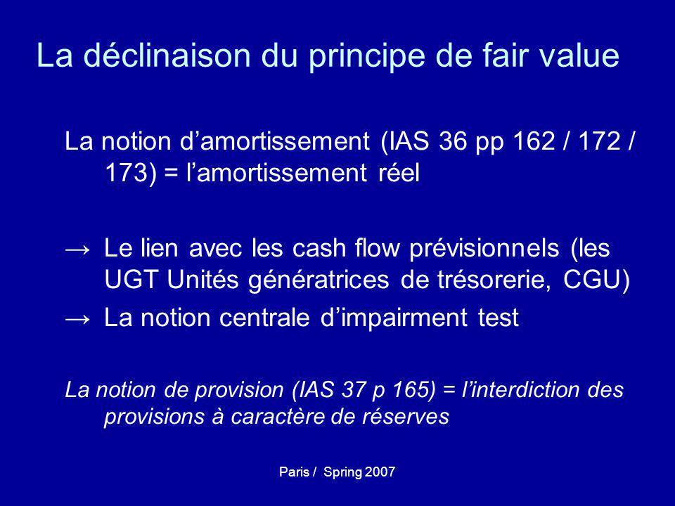 Paris / Spring 2007 La déclinaison du principe de fair value La notion d'amortissement (IAS 36 pp 162 / 172 / 173) = l'amortissement réel →Le lien avec les cash flow prévisionnels (les UGT Unités génératrices de trésorerie, CGU) →La notion centrale d'impairment test La notion de provision (IAS 37 p 165) = l'interdiction des provisions à caractère de réserves
