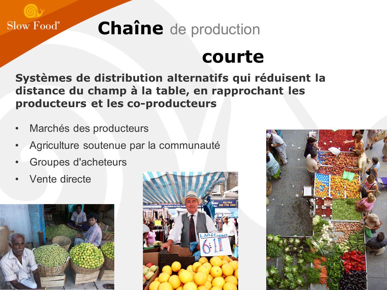 Chaîne de production courte Marchés des producteurs Agriculture soutenue par la communauté Groupes d acheteurs Vente directe Systèmes de distribution alternatifs qui réduisent la distance du champ à la table, en rapprochant les producteurs et les co-producteurs