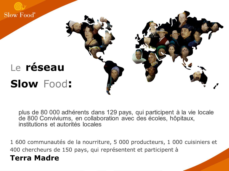 plus de 80 000 adhérents dans 129 pays, qui participent à la vie locale de 800 Conviviums, en collaboration avec des écoles, hôpitaux, institutions et autorités locales 1 600 communautés de la nourriture, 5 000 producteurs, 1 000 cuisiniers et 400 chercheurs de 150 pays, qui représentent et participent à Terra Madre Le réseau Slow Food :