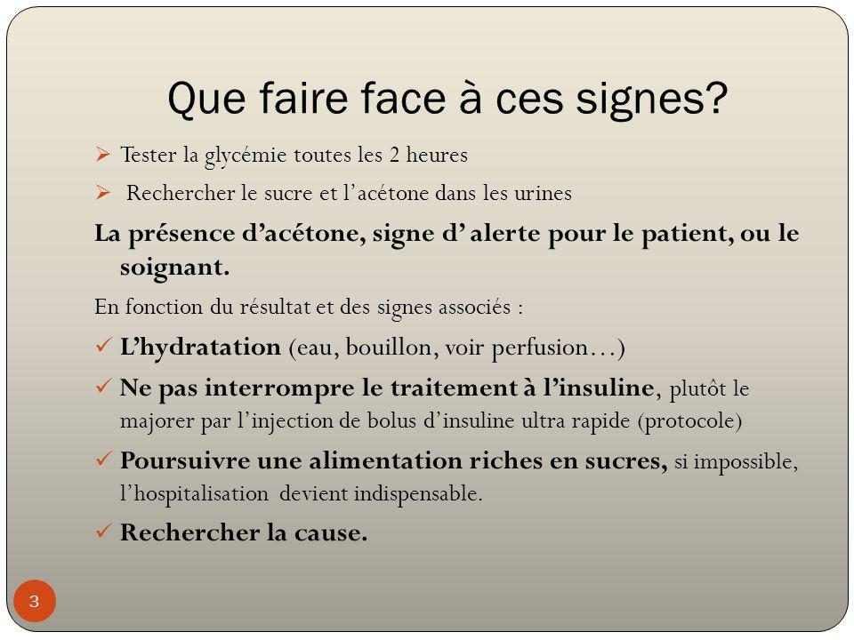 Que faire face à ces signes? 3  Tester la glycémie toutes les 2 heures  Rechercher le sucre et l'acétone dans les urines La présence d'acétone, sign