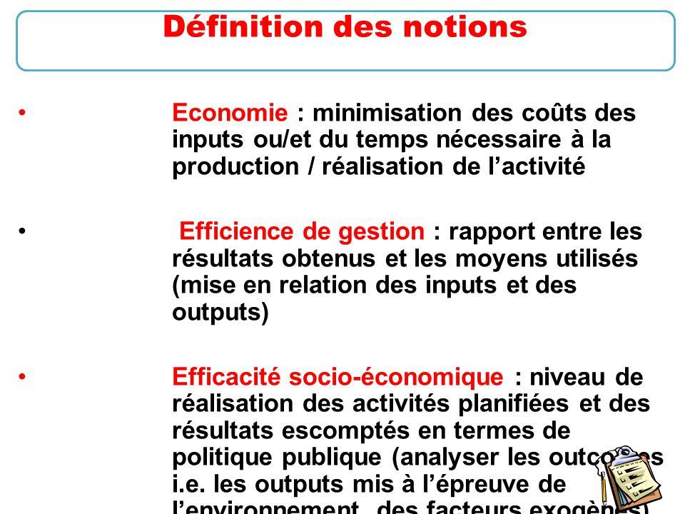 12 Economie : minimisation des coûts des inputs ou/et du temps nécessaire à la production / réalisation de l'activité Efficience de gestion : rapport