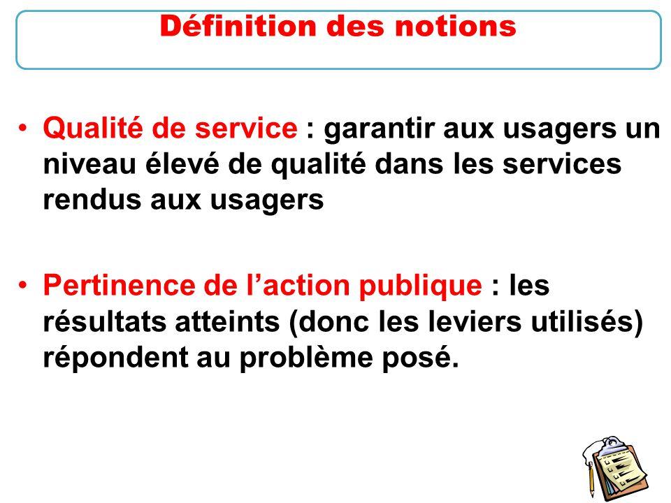 13 Qualité de service : garantir aux usagers un niveau élevé de qualité dans les services rendus aux usagers Pertinence de l'action publique : les rés