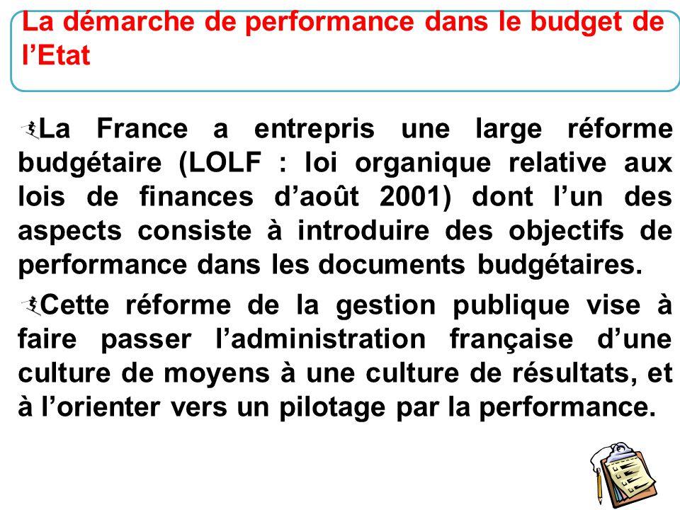 15  La France a entrepris une large réforme budgétaire (LOLF : loi organique relative aux lois de finances d'août 2001) dont l'un des aspects consist