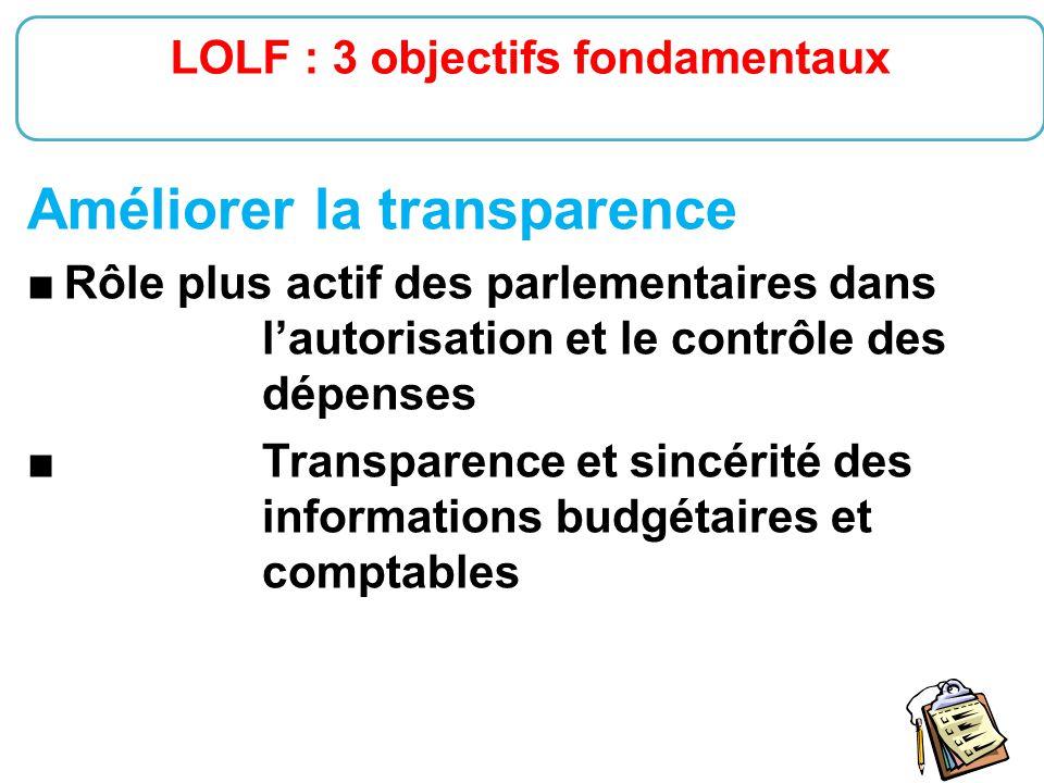18 Améliorer la transparence ■ Rôle plus actif des parlementaires dans l'autorisation et le contrôle des dépenses ■Transparence et sincérité des infor