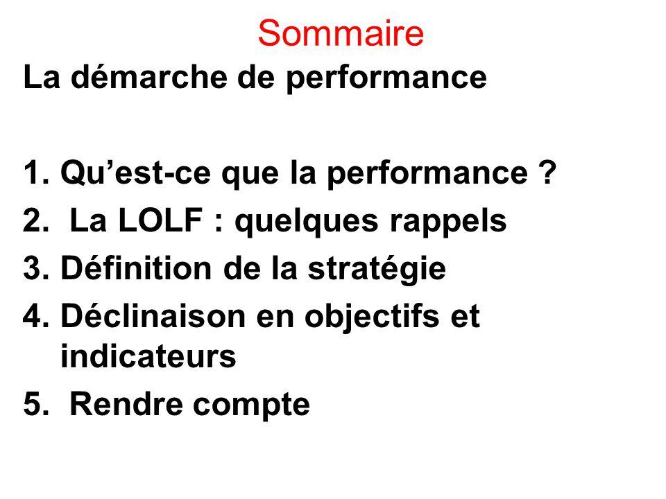 Sommaire La démarche de performance 1.Qu'est-ce que la performance ? 2. La LOLF : quelques rappels 3.Définition de la stratégie 4.Déclinaison en objec