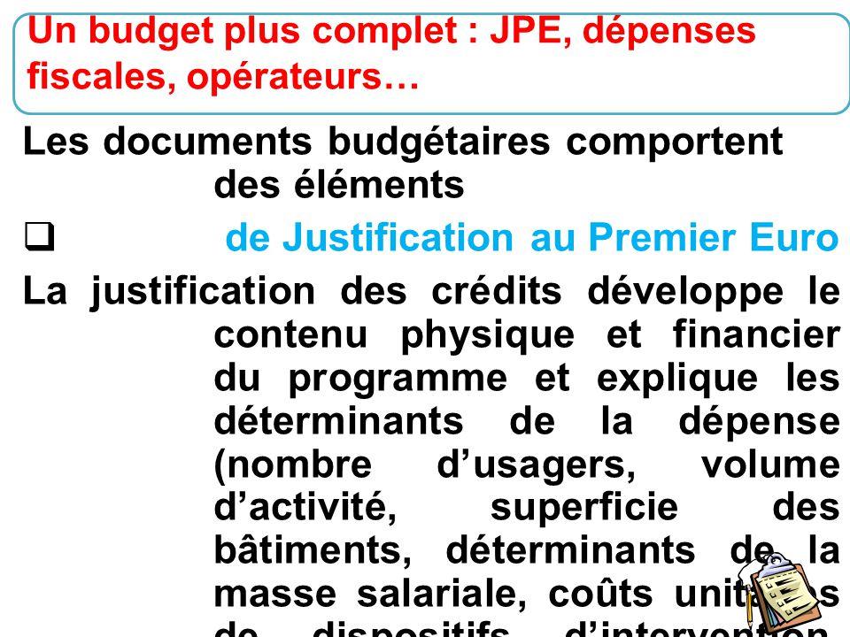 23 Les documents budgétaires comportent des éléments  de Justification au Premier Euro La justification des crédits développe le contenu physique et