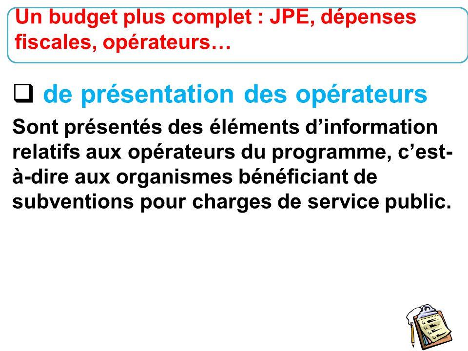 24  de présentation des opérateurs Sont présentés des éléments d'information relatifs aux opérateurs du programme, c'est- à-dire aux organismes bénéf