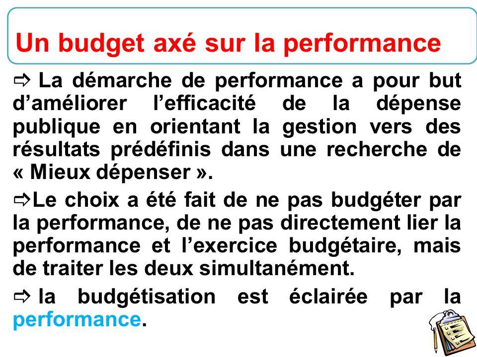 30  La démarche de performance a pour but d'améliorer l'efficacité de la dépense publique en orientant la gestion vers des résultats prédéfinis dans