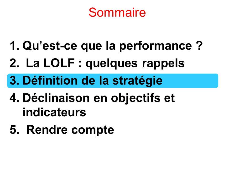 Sommaire 1.Qu'est-ce que la performance ? 2. La LOLF : quelques rappels 3.Définition de la stratégie 4.Déclinaison en objectifs et indicateurs 5. Rend