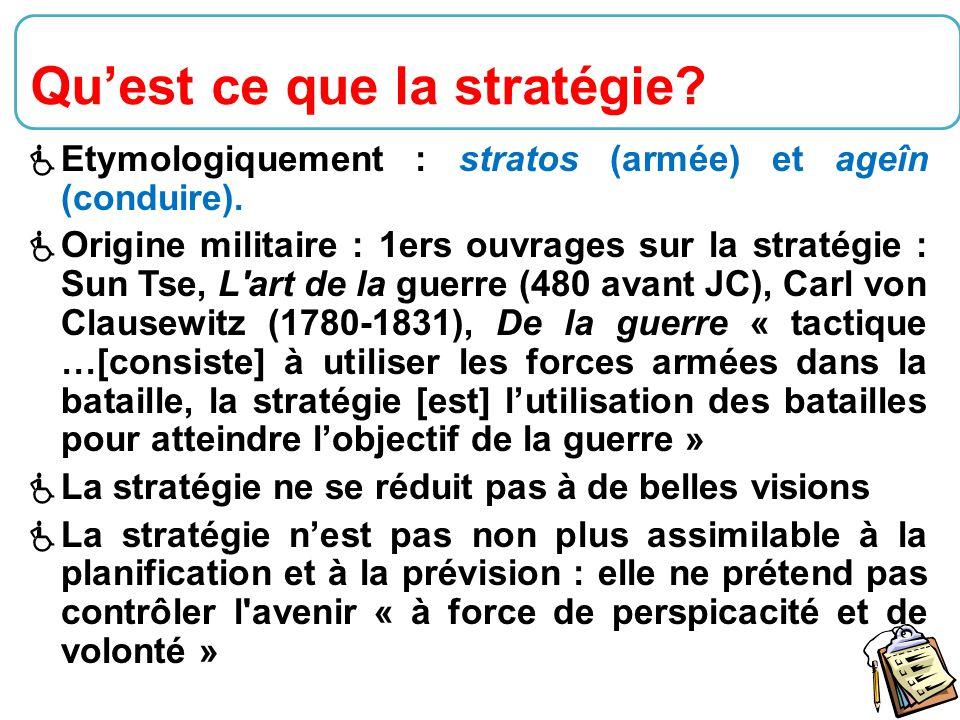32  Etymologiquement : stratos (armée) et ageîn (conduire).  Origine militaire : 1ers ouvrages sur la stratégie : Sun Tse, L'art de la guerre (480 a