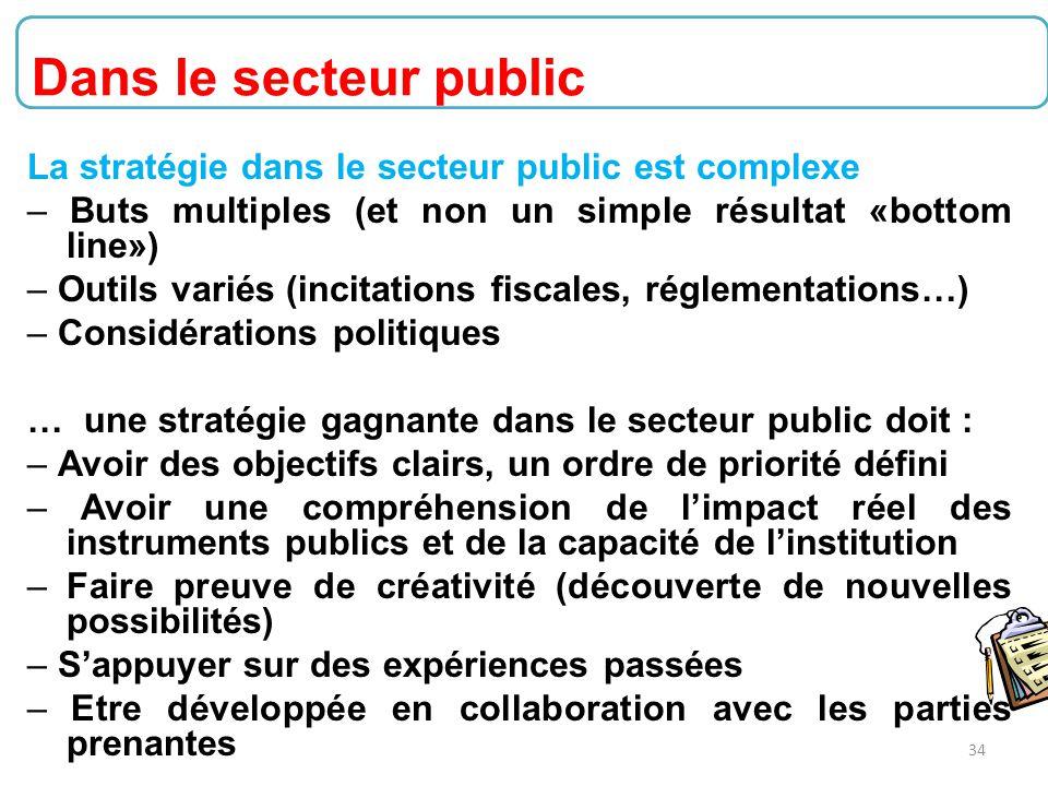 34 La stratégie dans le secteur public est complexe – Buts multiples (et non un simple résultat «bottom line») – Outils variés (incitations fiscales,
