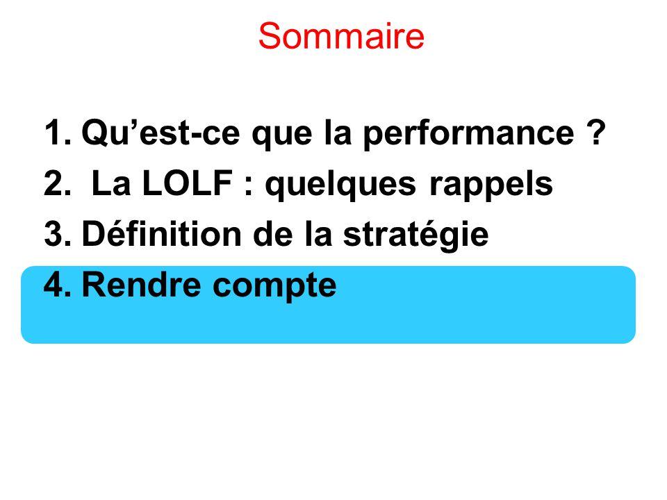 Sommaire 1.Qu'est-ce que la performance ? 2. La LOLF : quelques rappels 3.Définition de la stratégie 4.Rendre compte