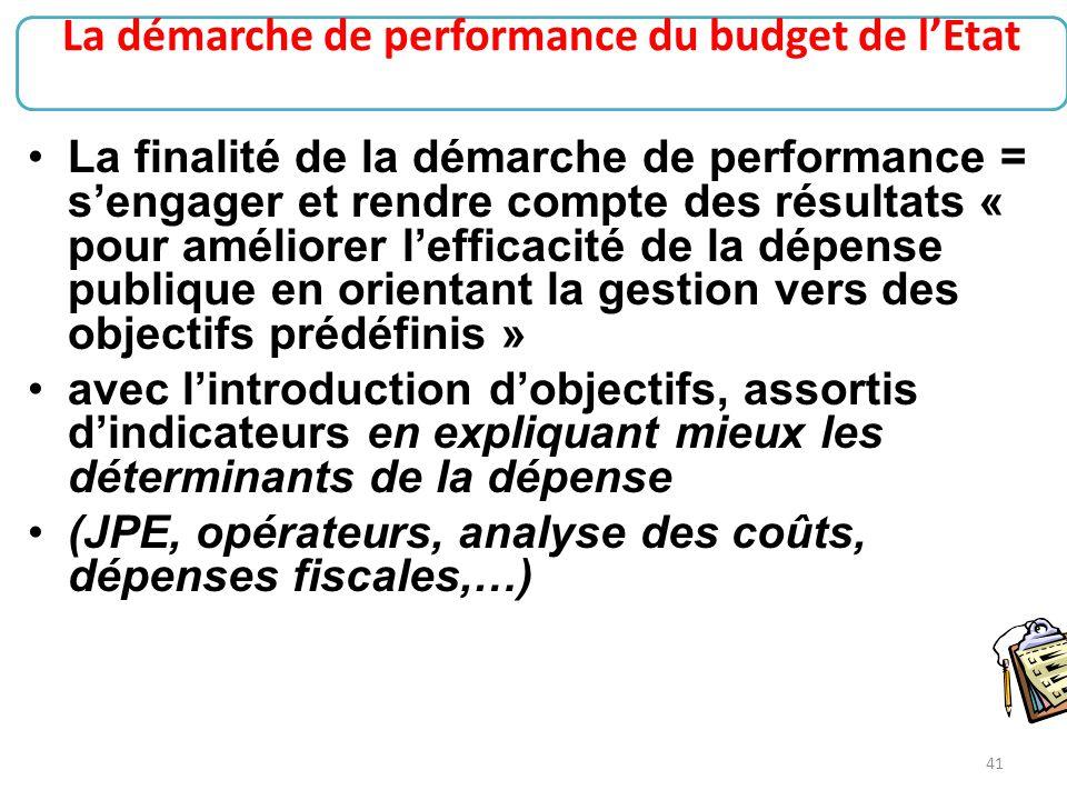 41 La finalité de la démarche de performance = s'engager et rendre compte des résultats « pour améliorer l'efficacité de la dépense publique en orient